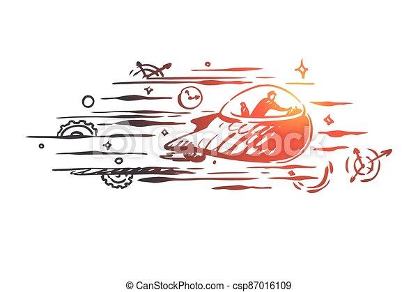 concept., dessiné, vector., temps, voyage, main, passé, avenir, machine temps, isolé - csp87016109