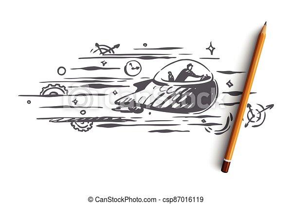 concept., dessiné, vector., temps, voyage, main, passé, avenir, machine temps, isolé - csp87016119