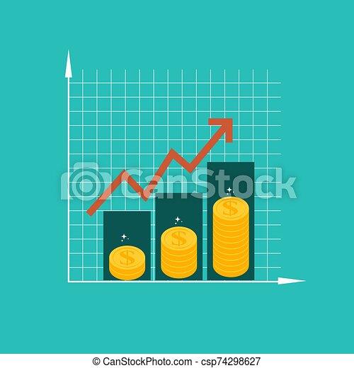 concept., financier, vecteur, roi, croissance, performance, arrow., retour, investissement, illustration, finance - csp74298627