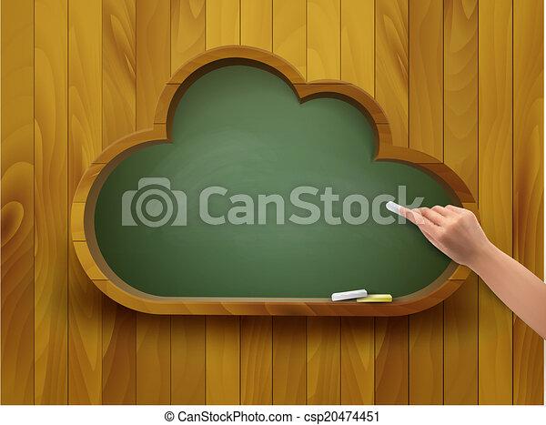 concept., forme, tableau, vector., cloud., e-apprendre - csp20474451