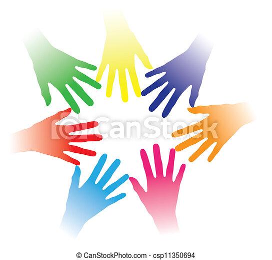 concept, gens, autre, communauté, tenu, liaison, association, groupe, gestion réseau, indiquer, coloré, équipe, illustration, aider transmet, gens, ensemble, multiracial, chaque, esprit, etc., social - csp11350694