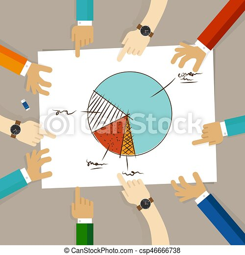 concept, groupe, pointage, bureau affaires, travail, graphique circulaire, regarder, planification, papier, mains, équipe, collaboration - csp46666738