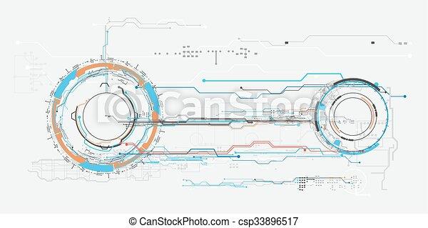 concept, hud., virtuel, toucher, graphique, interface utilisateur, futuriste - csp33896517