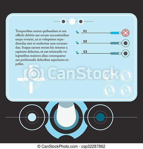 concept, hud., virtuel, toucher, graphique, interface utilisateur, futuriste - csp32287862