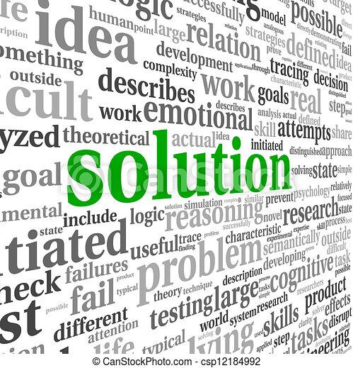 concept, mot, solution, nuage, étiquette - csp12184992