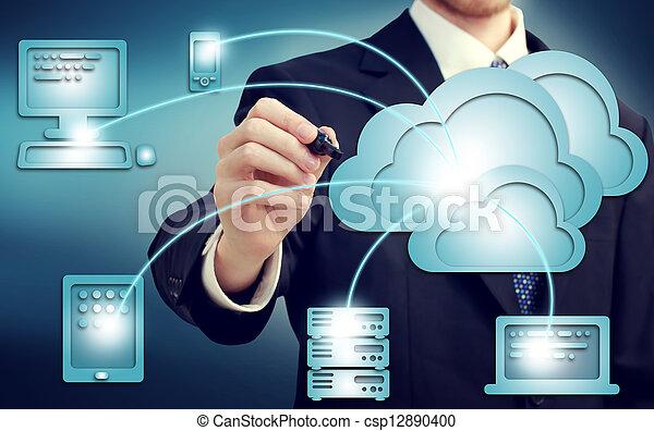 concept, nuage, calculer - csp12890400