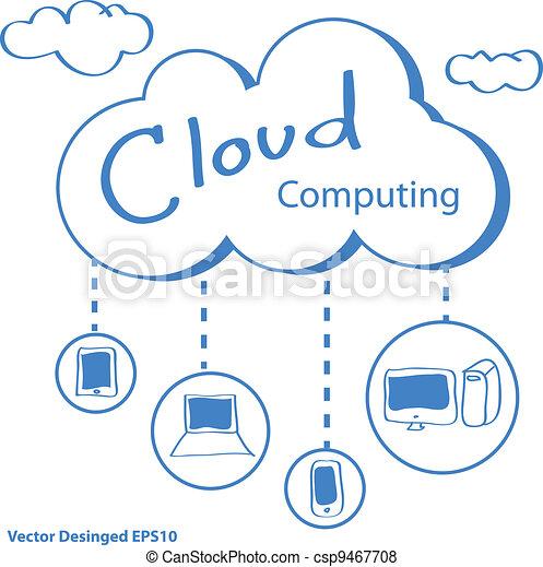 concept, nuage, calculer - csp9467708