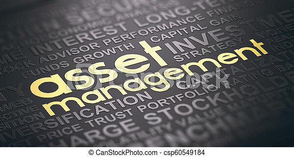 concept, or, tones., fond, noir, bien, mots, gestion, nuage - csp60549184