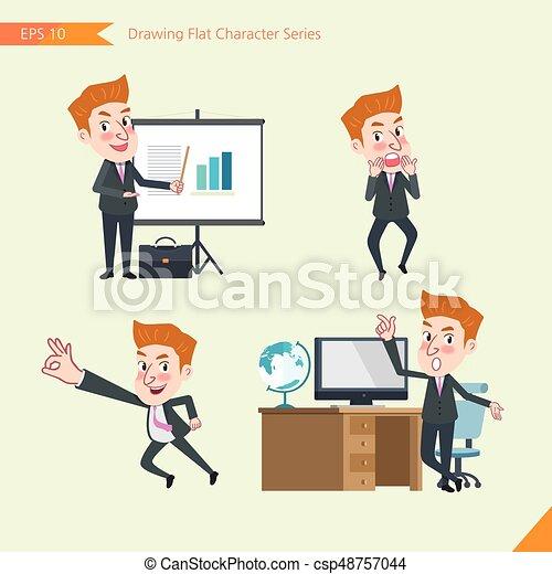 concept, plat, ensemble, ok, bureau, business, activités, signe, caractère, -, jeune, présentation, surpris, ouvrier, troubleshooter, dessin, style - csp48757044