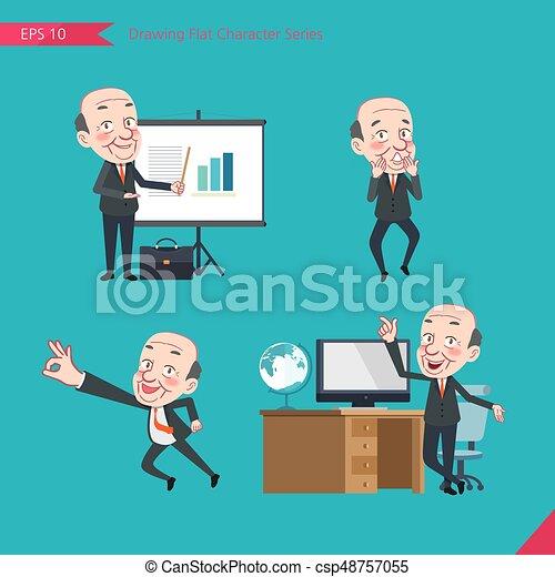 concept, plat, ensemble, ok, troubleshooter, business, activités, pdg, caractère, -, patron, signe, surpris, dessin, présentation, style - csp48757055