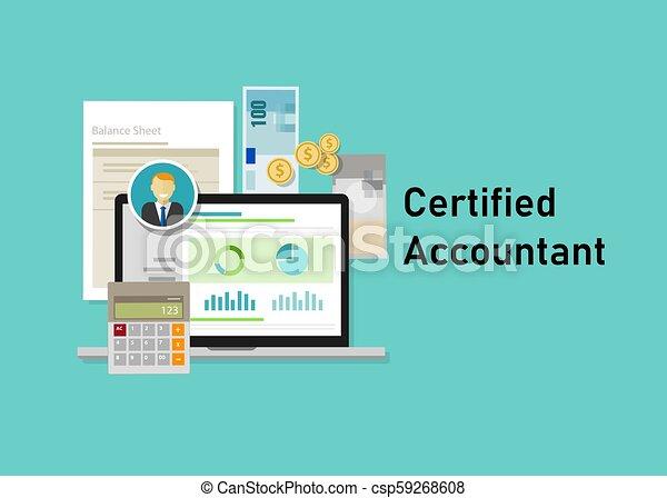 concept, professionnels, ordinateur portable, calculatrice, comptable, papier, certifié, education, smile., ca, certification. - csp59268608