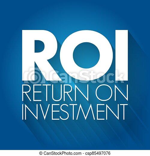 concept, retour, roi, investissement, acronyme, - - csp85497076