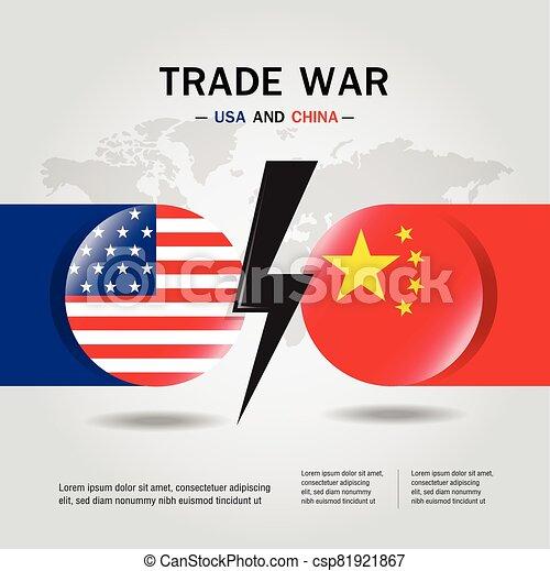 concept, usa, porcelaine, commercer, drapeau, vector., guerre, entre - csp81921867