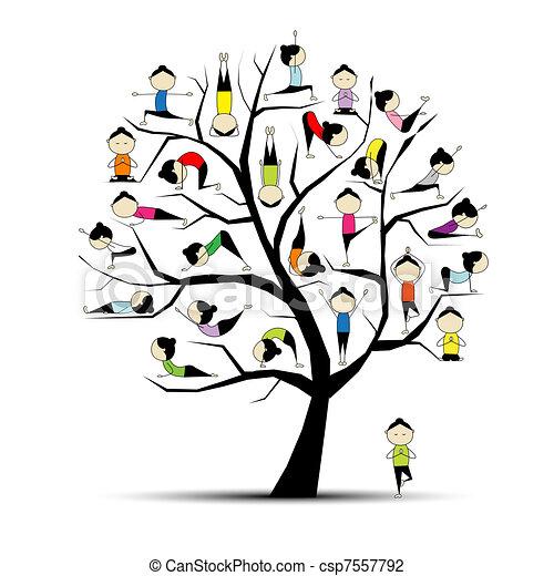 concept, yoga, pratique, arbre, conception, ton - csp7557792