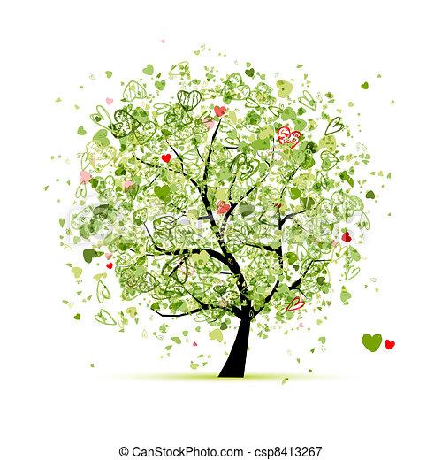 conception, cœurs, arbre, ton, valentin - csp8413267