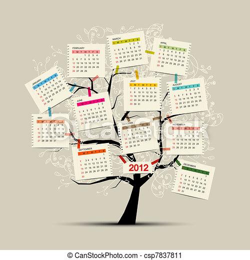 conception, calendrier, arbre, ton, 2012 - csp7837811