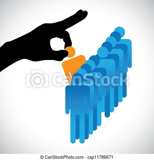 confection, personne, autre, graphique, candidats, compagnie, hr, choisir, mieux, spectacles, main droite, silhouette, choix, métier, techniques, beaucoup, employee., illustration, représenté, concept - csp11786671