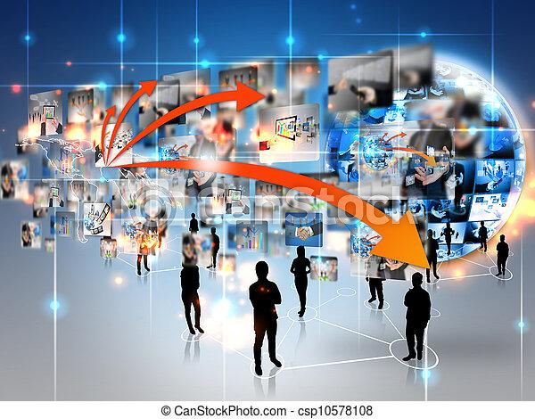 connecté, equipe affaires, mondiale - csp10578108