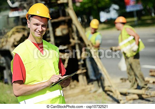 constructeur, site, sourire, travaux, route, ingénieur - csp10732521