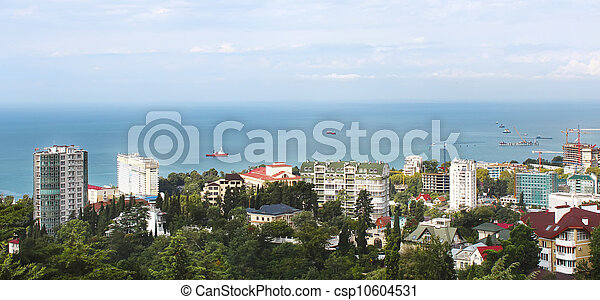 construction, panoramique, site, vue, sochi - csp10604531