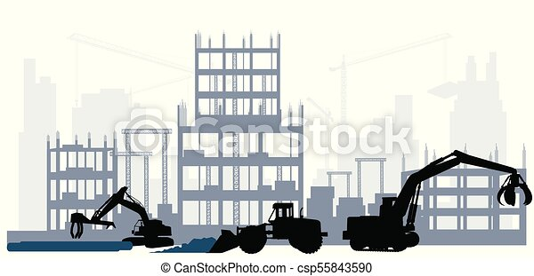 construction, silhouette, site - csp55843590