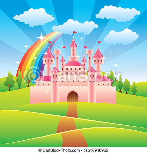 conte, fée, vecteur, château, illustration - csp16948962