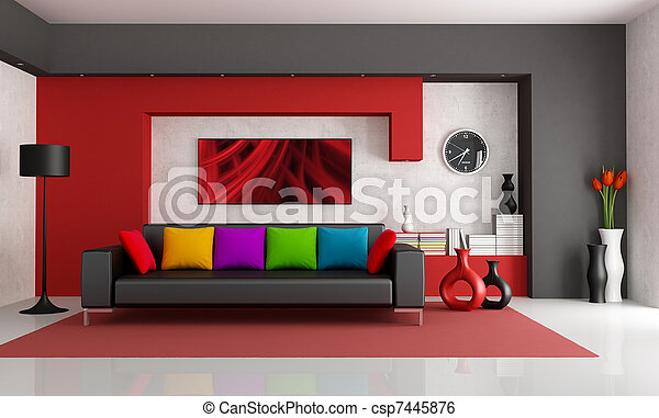 contemporain, salle, vivant - csp7445876