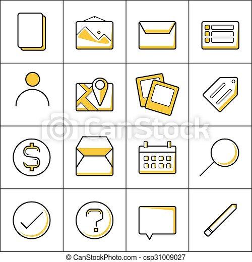 contour, icones affaires - csp31009027