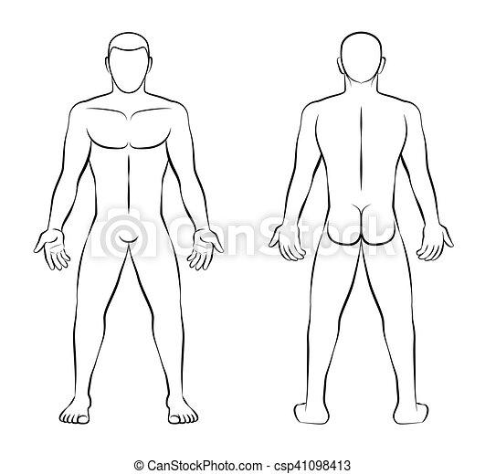 contour, nue, dos, illustration, vue frontale, homme - csp41098413