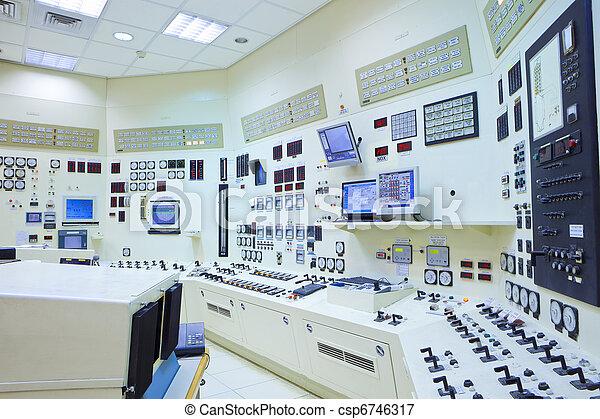 contrôle, station, salle, puissance - csp6746317