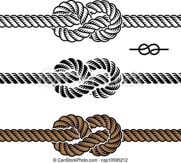 corde, symboles, vecteur, noir, noeud - csp10595212