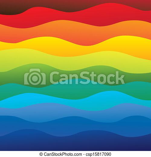 couches, arc-en-ciel, coloré, &, ceci, vibrant, résumé, contient, -, spectre, illustration, eau océan, couleurs, vecteur, lisser, fond, vagues, (backdrop), graphic. - csp15817090