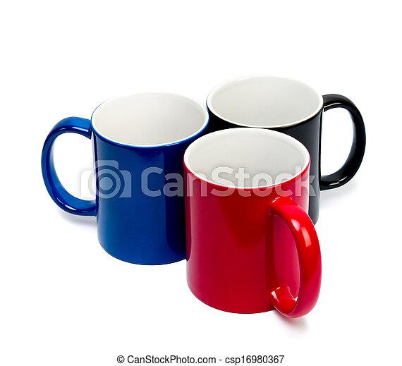 couleur, backg, blanc, céramique, tasses - csp16980367