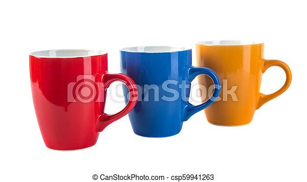 couleur, céramique, trois, fond, blanc, tasses - csp59941263