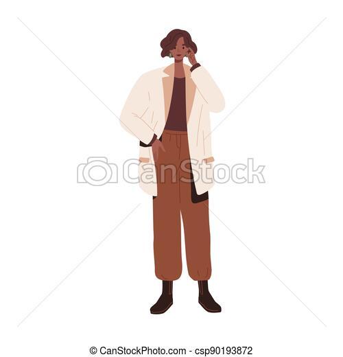 couleur d'arrière-plan, outfit., vêtements, plat, isolé, pantalon, style., lâche, africaine, moderne, illustration, urbain, porter, blanc, branché, boots., élégant, remplié, femme, mode, veste, désinvolte, modèle, vecteur - csp90193872