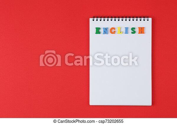 couleur, mot, cahier, lettres, anglaise - csp73202655