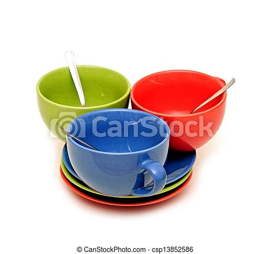 couleur, tasses, fond, blanc - csp13852586