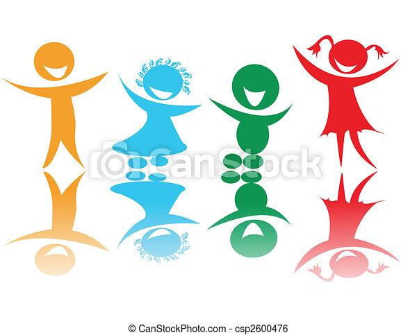 couleurs, enfants, heureux - csp2600476