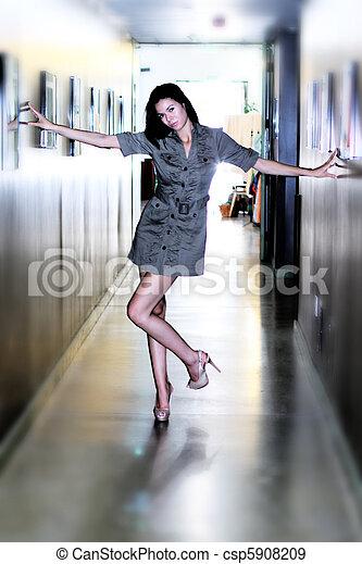 couloir, girl - csp5908209