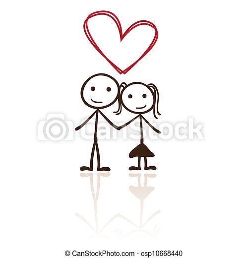 couple, figure bâton - csp10668440