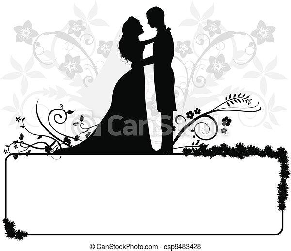 couple, mariage, silhouettes - csp9483428