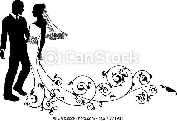 couple, palefrenier, mariage, mariée, silhouette - csp16771981