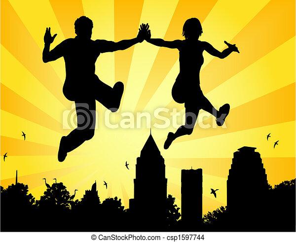 couple, saut - csp1597744