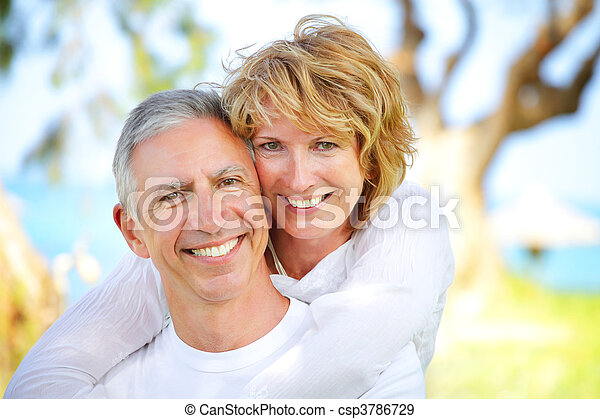 couple, sourire, mûrir - csp3786729