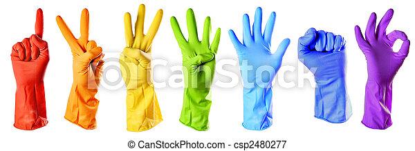 coupure, raibow, couleur, gants caoutchouc, sentier, blanc - csp2480277