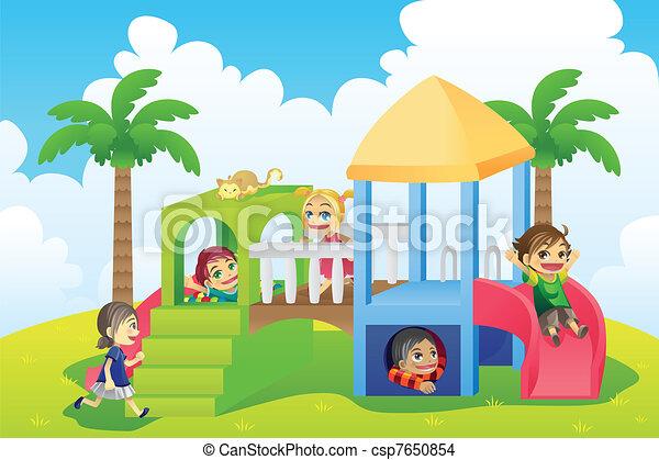 cour de récréation, enfants - csp7650854
