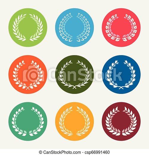 couronnes, laurels, vecteur, ensemble, icône - csp66991460