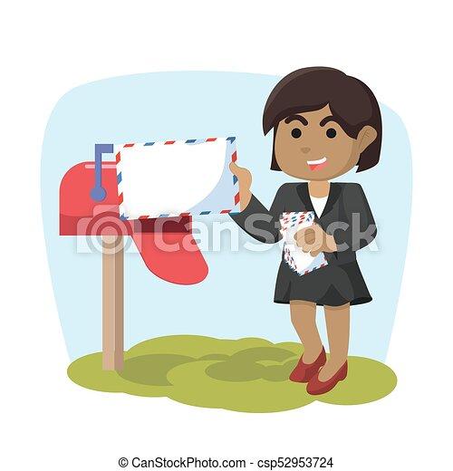 courrier, girl, réception, africaine - csp52953724