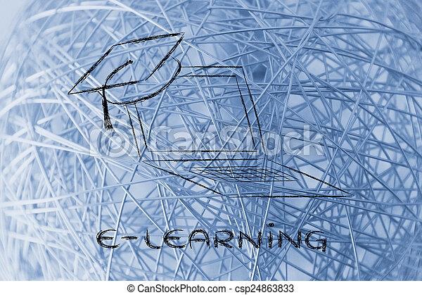cours, casquette, ligne, remise de diplomes, e-apprendre - csp24863833