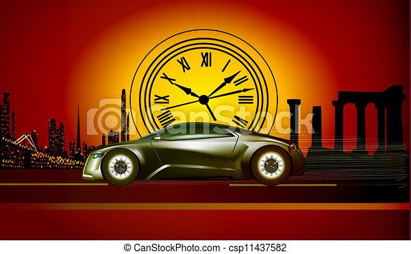 courses, illustration, machine, coucher soleil, temps, toile de fond, histoire - csp11437582